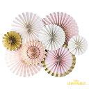 あす楽!【my mind's eye マイマインズアイ】ピンク+ゴールド プリンセス パーティー ペーパーファンセット8枚セット PRINCESS PARTY ...