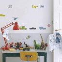 【ポイント最大22倍】いろんな種類の乗り物と標識が楽しいウォールステッカー 壁紙シール インテリアシール ウォールシール 子供部屋 キャラクター