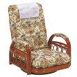 籐〔ラタン〕 回転座椅子 ギア式 座面高20cm 花柄 ( 送料無料 座椅子 チェア )