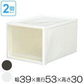 収納ボックス クローゼット用 ストラ L 同色2個セット ( 衣装ケース 収納ケース 引き出し 収納 プラスチック クローゼット収納 引出し 積み重ね スタッキング 衣類収納 )