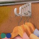 ドアハンガー どこでもドアフック 5連タイプ 3色アソート ( バッグ収納 ドアフック ハンガーフック ハンガーラック ドアハンガーフック コートハンガー ドア...