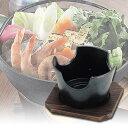 卓上コンロ マーブルコート 丸型コンロ 木台付 12cm ( 懐石料理 小型コンロ )