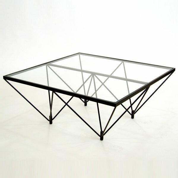 ガラステーブル ロータイプ 80cm角型 ( 送料無料 センターテーブル リビングテーブル ローテーブル 机 デスク ワイヤー ) 【ポイント最大35倍】どこから見ても美しいスタイリッシュデザイン センターテーブル リビングテーブル