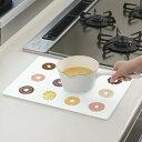 キッチントッププレート 鍋敷き 耐熱ガラス製 ドーナツ 30×40cm ( 耐熱プレート キッチンシート 汚れ防止 キズ防止 キッチンプレート なべしき )