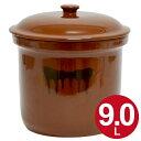 漬物容器 切立かめ 5号 9L 蓋付き 陶器 ( 送料無料 漬物樽 つけもの容器 漬け物容器 ぬか漬け 漬けもの 漬物器 かめ 壺 保存容器 )