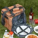 クーラーバッグ 食器付きピクニックバスケット バカンスクーラ...