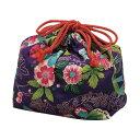 巾着袋 HAKOYA 楽園紫 和風柄 ( お弁当袋 ランチ巾着 )