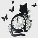 ウォールクロックステッカー ウォールステッカー 時計 猫 バタフライ Wall Clock Stic