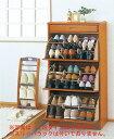 省スペースに靴がたっぷり入ります。木製シューズラック(ルーバー調) 2段【2003】