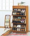 省スペースに靴がたっぷり入ります。木製シューズラック(ルーバー調) 3段【2004】