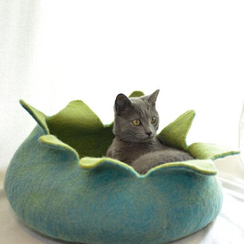 ●お花型のペット用ベッド necocoon(ネコクーン) アクア×グリーン 【dl_cat20170222】