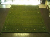 WOOL100%全厚20mm【緑芝生草色】インド手織りギャッベ160×230約3畳♯2【smtb-td】