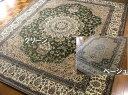 古典ペルシャ絨毯柄/サウジアラビア製モケット織絨毯ラグ200×250cm約3畳 ベージュ/グリーン/室内