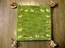 冷え性でお悩みの方にもオススメ■WOOL100%緑芝生草色インド手織りギャッベ約38×38A/座布団 ソファクッション/節電 玄関マット 室内