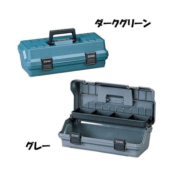 フタと連動式のインナートレー付き!ハードケース 42L ダークグリーン・グレー[コンテナ/工具箱/工具ケース/ツールボックス/おもちゃ箱/収納/小物 /整理/片付け/アイリスオーヤマ]