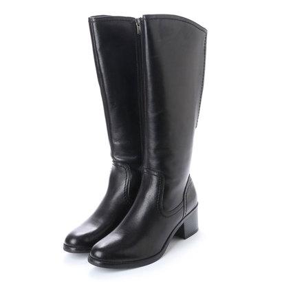 【アウトレット】イタリコ ITALICO ふくらはぎ楽ちん 伸びる履き口バックゴア仕様 本革ロング ジョッキーブーツ (ブラック)