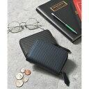 アッド Add+ 本革カーボンレザーミニウォレット コンパクト財布 コインケース カードケース (ネイビー)