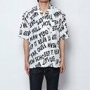 Men's Clothing - スタイルブロック STYLEBLOCK 総柄ロゴプリント半袖オープンカラーシャツ (オフホワイト)