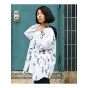 ScoLar 熊体模型総柄フード付きシャツ オフホワイト