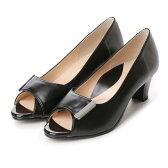 ベネビス/ベルメゾン benebis 日本製外反母趾の足にもやさしいオープントウパンプス (ブラック(スムース))