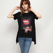 デシグアル Desigual Tシャツショートスリーブ LIPS (グレー/ブラック)