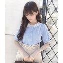 フィント F i.n.t スカラップ刺繍衿ストライプブラウス (L/BLUE)