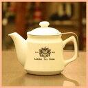 【送料無料】茶こし付きティーポット 陶器製(ロゴ入)600ml おすすめの紅茶ポット ロンドンティールーム 茶漉し ジャンピング 特許 紅茶 日本製