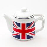 【】茶こし付き ティーポット 陶器製(ユニオンジャック柄)600ml/紅茶 ポット おすすめの紅茶ポット