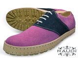 【店内全品ポイント5倍 9/29 20時まで】RAUDI (ラウディ) 32111 PINK/NAVYメンズ スエードシューズ ピンク/ネイビーサドルシューズ カラーソール 靴