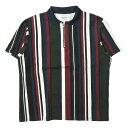 NOON GOONS ヌーングーンズ 19SS アメリカ製 Striped Half Zip Polo Shirt ストライプハーフジップポロシャツ M カーキ/ネイビー/ワイン 半袖 トップス【中古】【NOON GOONS】