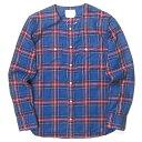 SANDINISTA サンディニスタ 日本製 Collarless Western Check Shirt カラーレスウエスタンチェックシャツ AW15-03-TP M ブルー 長袖 ノー ネル トップス【新古品】【中古】【SANDINISTA】
