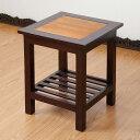 収納段付きバンブーサイドテーブル(アジアン家具 サイドテーブ...
