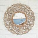 アジアン ウォールミラー 直径50cm ウッドレリーフ ( 壁掛け鏡 バリ リゾート インテリア おしゃれ モダン )