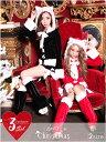 [予約販売/11月上旬]サンタ コスプレ サンタ 衣装 サンタコス [M/Lサイズ][3点セット]ネコ耳トップス&ショートパンツ[dazzyサンタ2016] サ...