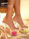 【送料無料】 サンダル キャバ 靴 [17cmヒール]エレガントローズクリアサンダル/靴[S,M,L,LL][花 フラワー flower 造花 クリア][ピンク 緑 クリア][靴 サンダル 17cmヒ