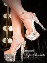 サンダル キャバ 靴 18cmヒール ランダムビジュークリア...