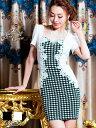 【あす楽】[01/30再販] ドレス キャバ [SM/M/MLサイズ]パール&ラインストーン付千鳥柄レイヤード風袖付きタイトミニドレス[dazzyQueen][...