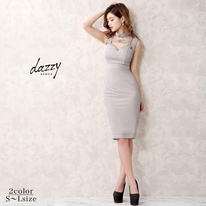 キャバ ドレス ミニ キャバドレス ワンピース 大きいサイズ ワンカラー フェイク ボタン タイト ミニドレス S M L 紺 グレー 谷間見せ 膝丈 レディース 女性 dazzyQueen デイジーストア ノースリーブ あす楽