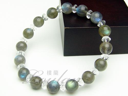 ラブラドライト8mmAAA、水晶ボタンカット【清龍ブレス 2133-08-014-0】天然石 パワーストーン ブレスレット ブレス