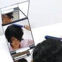 卓上 三面鏡 立体 卓上ミラー スタンドミラー [鏡] キュービックミラー ヘアカラー [毛染め] メイクミラー 折りたたみ 堀内鏡工業