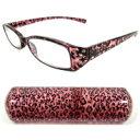 老眼鏡 石入りヒョウ柄 シニアグラス ピンク 専用ケース付 老眼鏡 リーディンググラスカートン光学