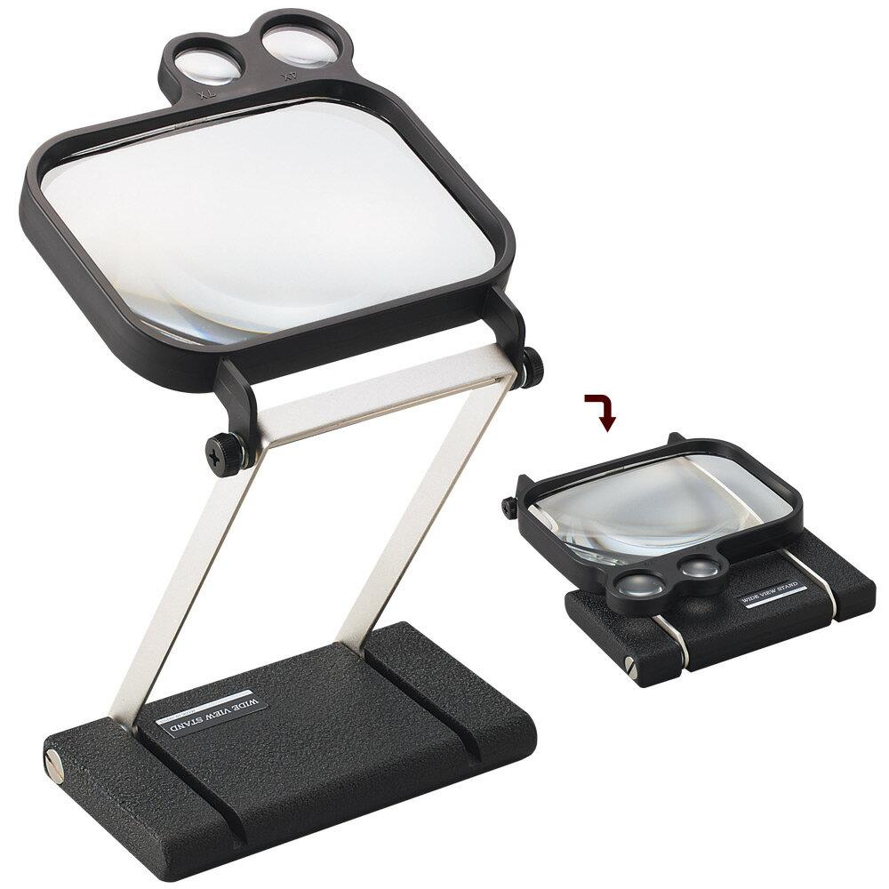虫眼鏡 スタンド ルーペ ワイドビュー スタンドルーペ 1795 1.8倍 110×145mm 卓上 拡大鏡 スタンド式 ルーペ スタンド 池田レンズ