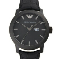 EMPORIO ARMANI AR0496 black clockface black leather belt men