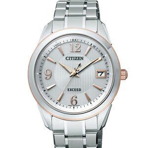 Citizen EBG74-5072 エクシードエコドライブ radio time signal silver clockface men