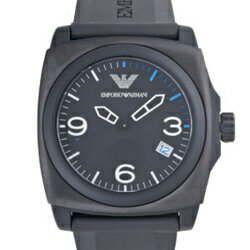 EMPORIO ARMANI AR5887 square case black dial black rubber belts men