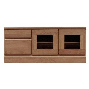 2段ローボード/テレビ台 【幅90cm】 木製 扉収納付き