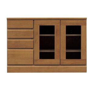 4段ローボード/テレビ台 【幅90cm】 木製 扉収納付き