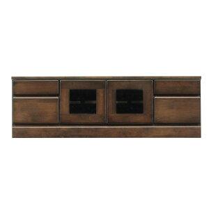2段ローボード/テレビ台 【幅120cm】 木製 扉収納付き