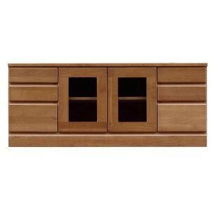 3段ローボード/テレビ台 【幅120cm】 木製 扉収納付き