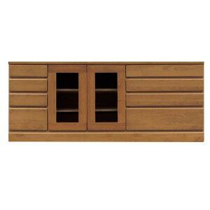 4段ローボード/テレビ台 【幅150cm】 木製 扉収納付き